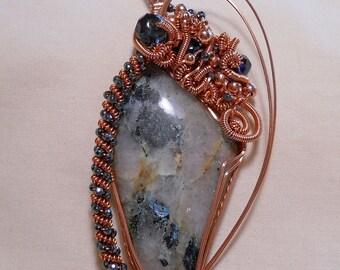 Unusaul Pegmatite - Copper Wire Wrapped Pendant