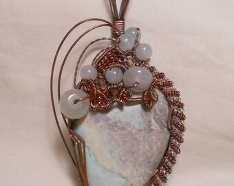 Pastel Pegmatite - Antiqued Copper Wire Wrapped Pendant