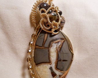 Septarian - 14K Gold Filled Wire Wrapped Pendant