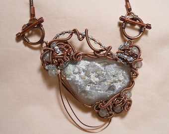 Light Blue Topaz with Silver Mica Gemochon - Antiqued Copper Wire Wrapped Pendant