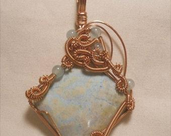 Pastel Pegmatite  Copper Wire Wrapped Pendant