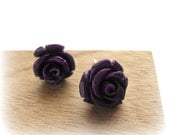 Dark Purple ROSE flower earpost earrings for romantic soul