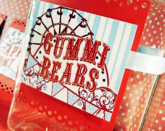 Carnival Themed Candy Jar Label - For Candy Buffet Dessert Table Candy Station Cookie Bar