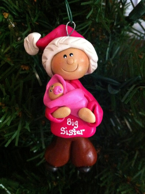 Big Sister and Teddy Bear Baby Ornaments. RESERVED Amber E