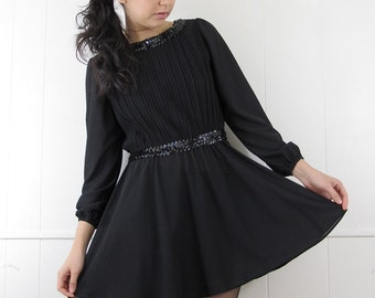 Vintage 70's Sequin Pleated Cocktail Skater Mini Dress Goth Glam XS