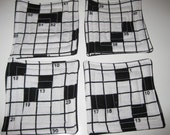 Crossword puzzle coasters.  Set of four black and white drink coasters.  Handmade.  Quilted puzzle pattern.
