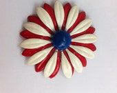 Vintage enamel pin.  Floral brooch.  Red, white and blue flower.  1960s.  Patriotic.