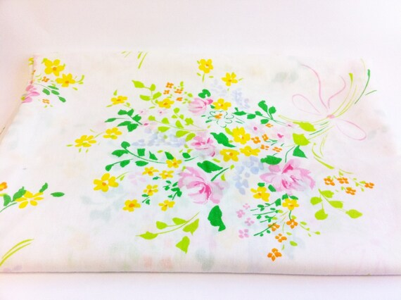Vintage floral sheet. Twin Flat sheet. Bouquet of flowers.  Pink, orange, green, yellow and purple.
