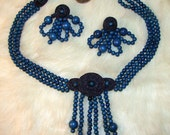 PRICE REDUCED Beautiful Vintage Blue Beaded Necklace Choker And Matching Clip Earrings STUNNING