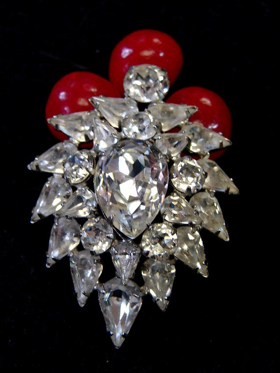 RESERVED FOR Nikki--Vintage Gorgeous Eisenberg Rhinestone Brooch Pin 2 & 1/4 in. Long