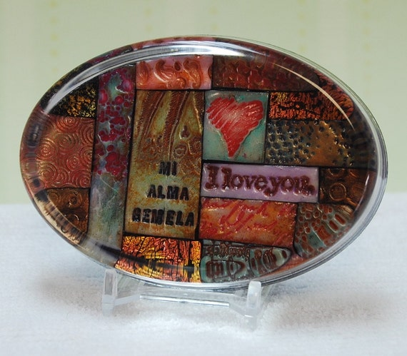 Mixed Mosaic Crystal Paperweight with Message....Mi Alma Gemela