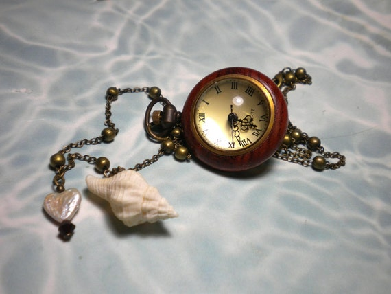 Watch Necklace Pendant Timepiece Seashell Heart Pearl