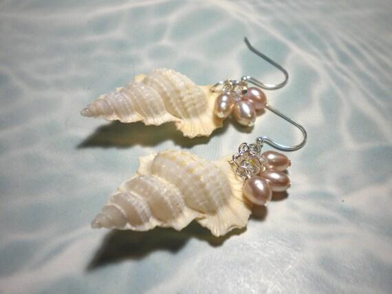 Seashell Earrings Freshwater Pearl Dangles Summer Beach Romance
