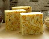 Goat Milk Soap, Honeysuckle Orange, 5 Oz Scrub Bar with Calendula Flowers and Fragrance Oil, Herbal Handmade Soap, Face and Body
