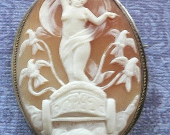 SALE EXQUISITE Antique Valentine Victorian Goddess and Her Chariot with Birds and Clouds Cameo Brooch and Pendant.