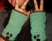 Mint Chocolate Chip Please :)  - OOAK Fingerless Gloves- READY to ship