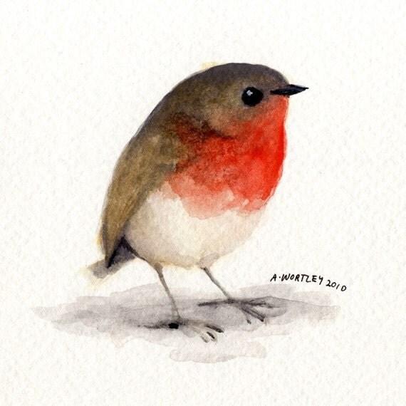 little red robin original watercolour. Black Bedroom Furniture Sets. Home Design Ideas