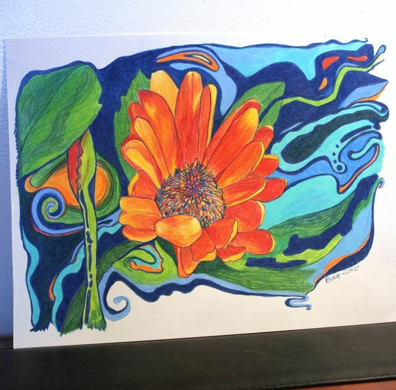 Gerber Daisy II . Color Pencil Drawing . Abstract Drawing . Original Drawing . Pencil Drawing