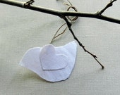 wedding white bird tags package ornaments heart