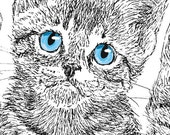 Kitttens Three Ink Portrait Notecards Set of Two