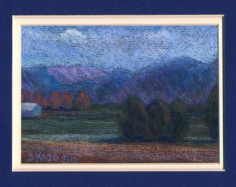 Tennessee Farm with Cedars Original Pastel Painting