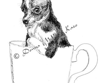 Chihuahua Ink Drawing Embellished MiniPrint Great Gift for Dog Lover
