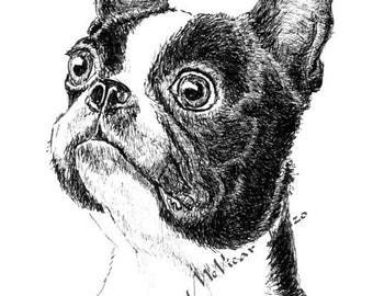 Boston Terrier Ink Drawing Embellished Miniprint Perfect Gift for Dog Lover