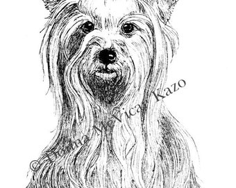 Yorkshire Terrier Ink Drawing Embellished Miniprint Great Gift for Dog Lover