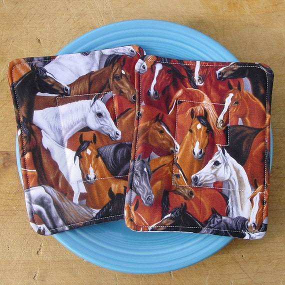 Two Horse Pot Holders - Western Decor - Insulated and Cotton Batting