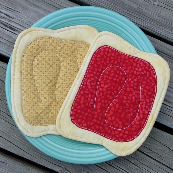 Pot Holders - Peanut Butter & Raspberry Jelly - Unique - Silly - PBJ