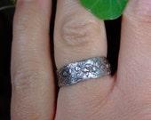 Women's textured silver wedding ring: Urchin