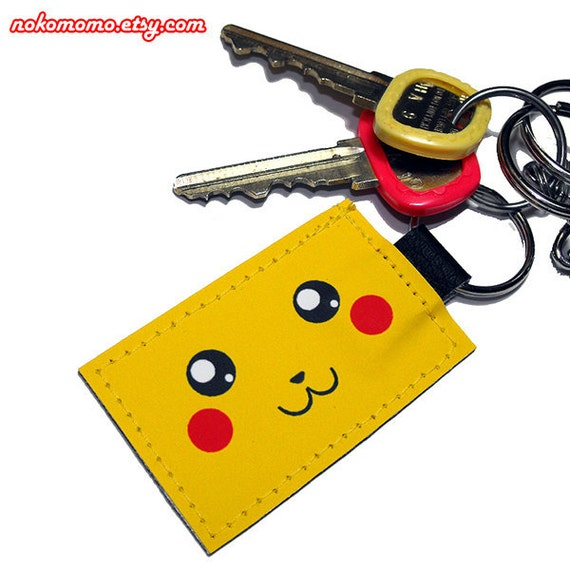 Pikachu Inspired Keychain - Made with durable vinyl, a vegan alternative to leather