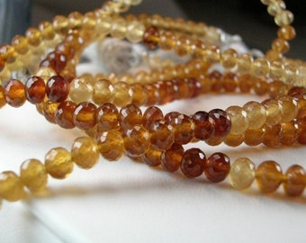 Hessonite Garnet Rondelles  AAA  Micro Faceted  8 inches