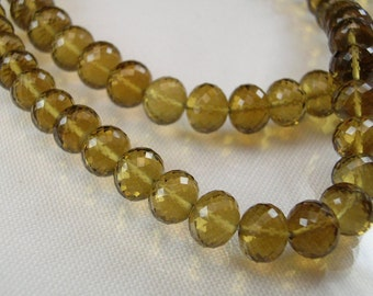 Sale -Large Cognac Quartz Rondelles AAA Micro Faceted Quartz Gemstone Beads 7.5-8.75