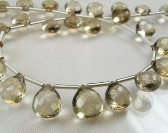 Champagne Citrine Heart Briolettes, AAA, Micro Faceted, 8.30-10.25mm