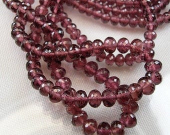 Rhodolite Garnet Rondelles AAA Micro Faceted Rubilite Garnet Gemstone Beads, 3-5mm 8 inches