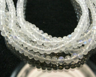 Sale -AAA Moonstone Rondelles Micro Faceted Rainbow Moonstone Gemstones,  3.5-5.75mm, 8 inches