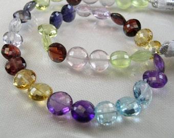 Sale -Multi Gemstone Coin Beads  AAA  Blue Topaz Amethyst Citrine Garnet Rose Quartz Gemstone Beads Micro Faceted