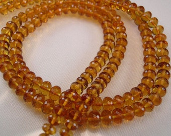 Sale -Maderia Citrine Rondelles  AAA   Micro Faceted  4.25-5mm