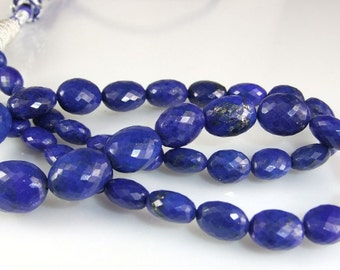 Lapis Oval Nuggets Micro Faceted AAA Lapis Beads Dark Blue Gold Fleck Lapis