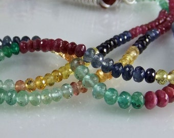 Precious Multi Gem Rondelles AAA Micro Faceted Gemstone Beads Ruby Sapphire Emerald Beads 3.5-4mm