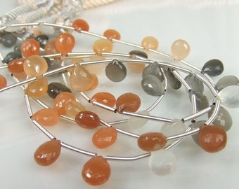 Peach/Grey Moonstone Briolettes AA-AAA Gemstone Briolettes ,8-8.5mm,Micro Faceted