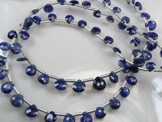 Last Half Strand-Blue Sapphire Heart Briolettes, AAA, Micro Faceted