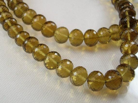 Large Cognac Quartz Rondelles AAA Micro Faceted Quartz Gemstone Beads 7.5-8.75