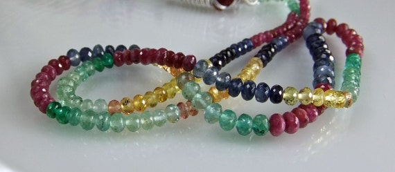 Precious Multi Gem Rondelles AA- AAA Micro Faceted Gemstone Beads Ruby Sapphire Emerald Rondelle Beads