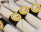 Napkin Rings - Silverware Wraps - Bee Theme - Happy Birthday Party and Baby Shower Decorations in Yellow & Black (12)