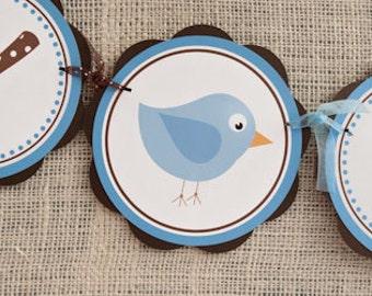Little Birdie HAPPY BIRTHDAY BANNER, Birdie Birthday Party Decorations in Blue and Brown