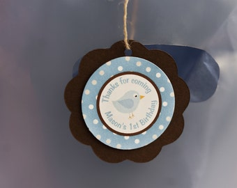 Lil Birdie Favor Tags, Happy Birthday Party Decorations in Blue and Brown