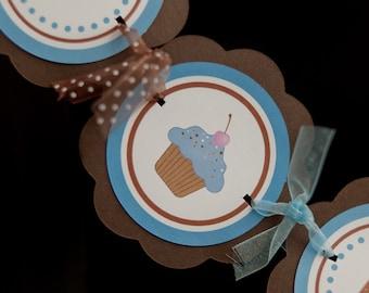 Cupcake Theme I AM 1 MINI BANNER - First Birthday Party Decoration Sign - Cupcake Party Decorations - Blue & Brown