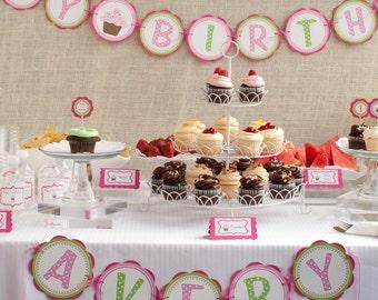 Cupcake Birthday Banner - HAPPY BIRTHDAY Banner